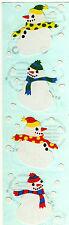 Mrs. Grossman's Stickers - Snowmen - White Snowman in Scarf with Snow - 4 Strips