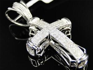 Mens/Ladies 14K White Gold Hand Set Pave Round Cut Diamond Cross Pendant 1.0 Ct
