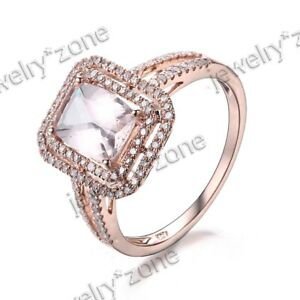 Solid 10K Rose Gold Cushion Genuine Morganite Diamond Engagement Jewelry Ring