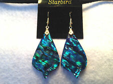 BLUE PAUA ABALONE SEASHELL DANGLE EARRINGS 80's VINTAGE