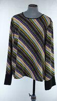 & Other Stories PARIS ATELIER Jersey Blouse Multicolour Diagonal Stripe UK 16