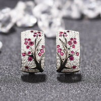 925 Silver Red Ruby Flower Plum Blossom Stud Ear Hoop Earrings Women Jewelry