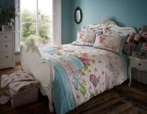 Luxury Polycotton Duvet Cover Sets Printed Vintage Style Soft Bedding King Size