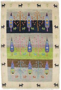 Pictorial Handmade Oriental Modern Rug 4X6 Plush Gabbeh Kids Room Decor Carpet