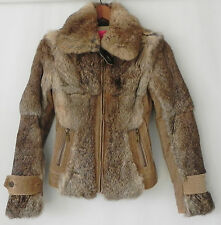 Juicy Couture Jacket Rabbit Fur/Corudroy Brown Full Zip Size XS