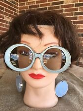 1960's Austin Powers Groovy Girl Vintage Sunglasses , Earrings on Chain BLUE