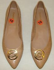 BEBE BLARE NUDE BEIGE FAUX ALLIGATOR PRINT POINTY FLATS SHOES SIZE 10  A133