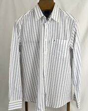 Indian Terrain Mens Size L Custom Fit White/Blue Stripe Shirt