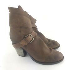 STEVEN by STEVE MADDEN Riskey Brown Leather Stacked Heel Ankle Boots Booties 10