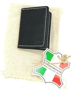 Compact Real Italian Leather Card Wallet Black Satin Handmade