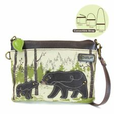 NEW CHALA SAFARI CANVAS BEAR MINI CROSSBODY CELL PHONE PURSE ADJUSTABLE STRAP