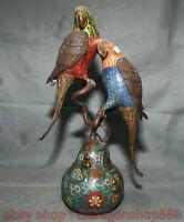 """14 """"Chine Cloisonné Émaux Bronze 2 perroquet  Gourde Brûleur D'encens Statue"""