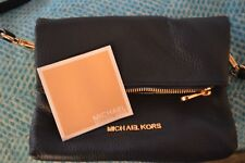 Michael Kors Navy Pebbled Leather Cross Body Zipped Bag Clutch Purse Authentic