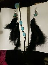 and Hematite and Turquoise Bracelet Black Real Feather & Turquoise Earrings
