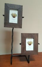 """Two 2 x 3 Natural Wood Picture Frames Distressed Metal Stand Thailand """"Amora"""""""