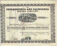 PENNSYLVANIA Philadelphia & California Mining Stock Certificate 1852 Early Gold