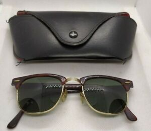 Ray Ban vintage clubmaster w0366 green lenses tortoise frames sunglasses