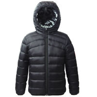 Boys' Lightweight Reversible Water Resistant Hooded Puffer Jacket Coat Outwear