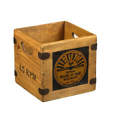 "Sun Record Box 7"" Single Vintage Wooden Crate Elvis Rockabilly Retro Vinyl Case"