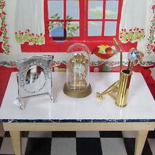 Vtg 60s Dollhouse GOLF CLUBS CLOCK BARTON FIRE SCREEN Brass Lundby Ideal Sz 1:16