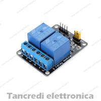 MODULO SCHEDA RELE' 2 CANALI OPTOISOLATI 10A 250V 12Vdc (Arduino-Compatibile)