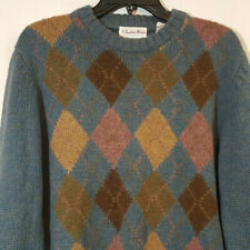 Vintage Locker Room Sweater Argyle Blue Brown Pink Alpaca Sz L