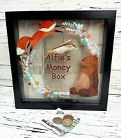 Personalised Printed Baby Saving Frame Bank wooden money box 23cm Woodland