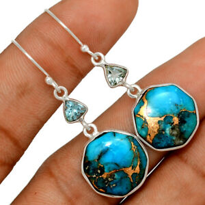 Copper Blue Turquoise & Blue Topaz 925 Sterling Silver Earring Jewelry BE60295