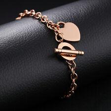 Damen Schmuck Armband Edelstahl Herz-Anhänger Rosegolden mit Knebelverschluss
