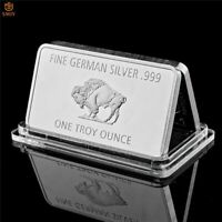 Bull Fine German .999 Mint 1 Troy Ounce Buffalo European Metal Bar Steel Plate