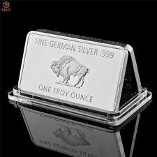 Bull Fine German .999 Mint 1 Troy Ounce Buffalo European Metal Bar Steel Plate