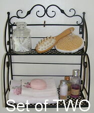 Set of TWO Wrought Iron Bakers Stand Kitchen Rack Rustic Bathroom Shelf - SH118