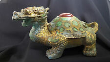 rare Chinese old red copper casting turtle statue figure tea pet gift