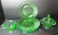 Colonial Fluted Green Depression Glass Federal Glass 6 Lunch Plates Sugar Cream