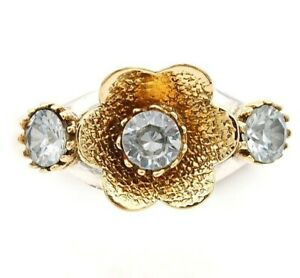 Two Tone- White Topaz 925 Solid Sterling Silver Ring Jewelry Sz 8 , IT4-6