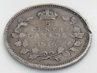 1916 Canada Five 5 Cent Small Silver Circulated Canadian George V Coin J615