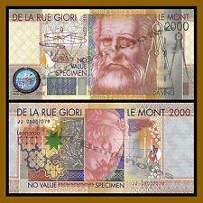 Thomas De La Rue Giori Le Mont 2000 Test Banknote Specimen Leonardo Da Vinci,Unc