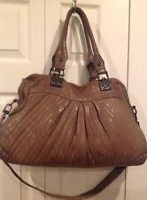 TREESJE Avalon Large Brown Leather Soft Satchel Shoulder Bag