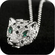 18k white gold made with SWAROVSKI crystal leopard pendant necklace green eyes