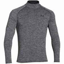 Under Armour M Mens 1/4 Zip Tech Pullover Top Black Twist NWT Gray Athletic