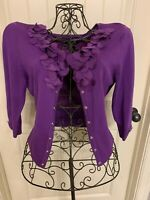 White House Black Market Women's Cardigan Size Small S Long Sleeve Purple