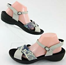 Sanita Criss Cross Ankle Strap Sandals Light Gray Floral Patchwork EU 42 / US 10