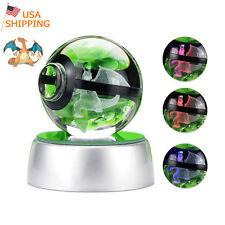 Pokemon Charizard 3D LED Crystal Decor Night Light Table Lamp Best Gift Pokeball