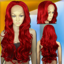 70cm Dark Red Heat Styleable Lace Front Wavy Long Cosplay Wigs S_DDR