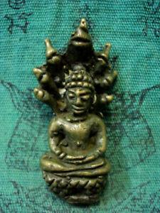 Phra Naga Prok 7 Heads Buddha Statue Meditation Khmer Old Thai Amulet Spiritual