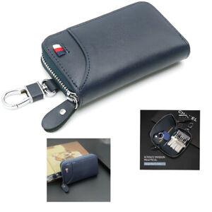 Leather Blue Wallet Key Holder Keychain Bag Zipper Credit Card Package For Men