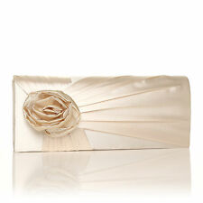 NEW WOMENS FLOWER BRIDAL SATIN WEDDING EVENT OCCASION PARTY CLUTCH BAG