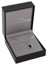 Nadri Sterling Silver Midnight Blue Crystal Pendant Necklace 0616