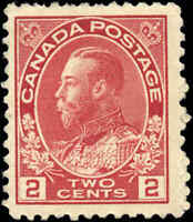 1917-22 Canada Mint H  2c F+ Scott #106 KGV Admiral Issue Stamp