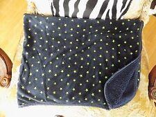 Carter's Lime Green Stars on Navy Blue Minky with Fleece Baby Blanket EUC